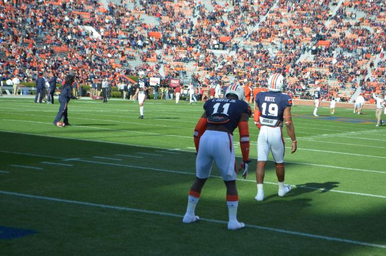 Chris Davis Jr. practicing returning missed field goals