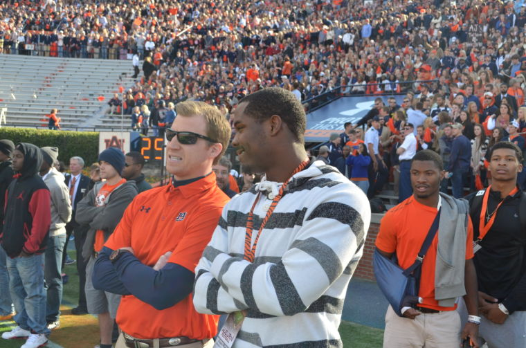 Coach Rhett Lashlee watches his QBs with D'haquille Williams (a JUCO commit from Gulf Coast CC, Miss.)
