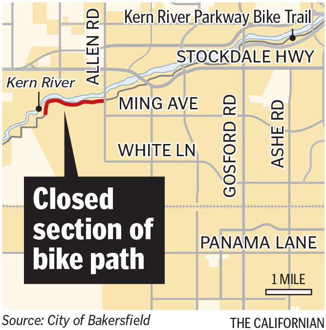 Bike path closure blocks route at height of beauty news for Motor city of bakersfield