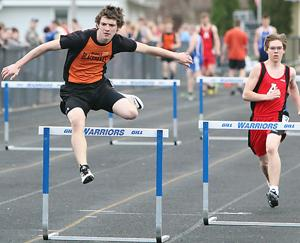 <p>Sophomore Isaiah Meinen took fifth in both the 110-meter hurdles and 300-meter hurdles at Rice Lake Thursday, April 16. Meinen took third in the 200-meter hurdles and fifth in the 55-meter hurdles at UW-Superior Friday, April 17.</p>
