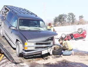 Three-vehicle crash on Hwy. 'SS'; Four people injured