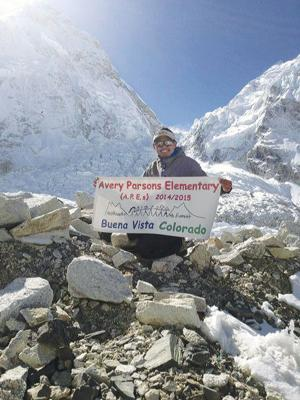 <p>Amid the tragedy and destruction, Chhering Dorjee Sherpa keeps good on his promise to Avery-Parsons Elementary students. While summit trips have been cancelled for the 2015 climbing season, Chhering did take the time to display student's banner at Base Camp following the earthquakes and deadly avalanche that hit the camp.</p>