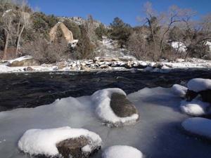 Snow and blue sky at Buena Vista River Park