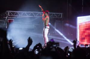 <p>Rapper Big Sean performs for students and fans during the Movin' On music festival at the Blue Band field on Friday, May 1, 2015.</p>