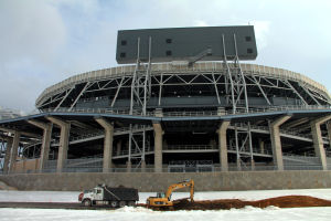 Construction on Beaver Stadium Scoreboard