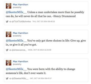 <p>DaeSean Hamilton's mom and dad tweet at their son on a daily basis to try to inspire her young football star.</p>