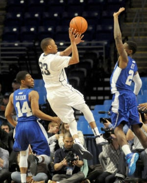 Senior Tim Frazier goes up for a lay up