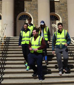 <p>Students and members of UPUA start off their walk to Harrisburg for the Steps for State on Sunday, March 29, 2015.</p>