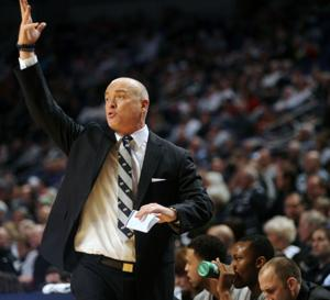 <p>Head coach Patrick Chambers reacts after a play during the game against Rutgers held at the Bryce Jordan Center on Jan. 24, 2015. Penn State defeated Rutgers 51-79.</p>