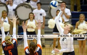 <p>Ali Frantti (5) hits against Illinois during Penn State's home game on Oct. 11. The freshman tallied 16 kills in the Nittany Lions' five-set victory against Purdue on Friday.</p>