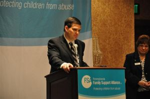 Jay, Sue Paterno speak at child abuse prevention breakfast