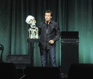 Dunham speaks with Achmed the Terrorist on stage