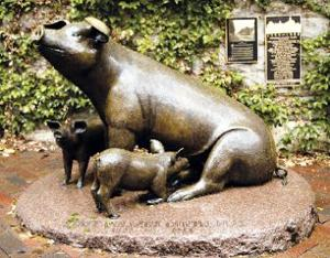 Pig sculpture still drawing town's notice