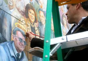 Halo added to Joe Paterno's portrait on Heister Street mural