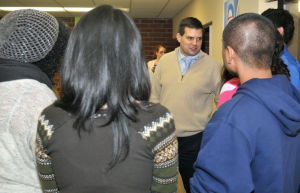 Jay Paterno talks with students