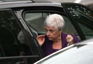 Dottie Sandusky exits car