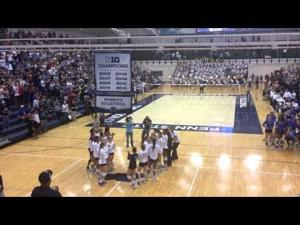 Penn State women's volleyball raises the 2013 Big Ten Championship banner