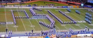 <p>The Penn State Blue Band performs during halftime of the New Era Pinstripe Bowl held in Yankee Stadium on Saturday, Dec. 27, 2014.</p>