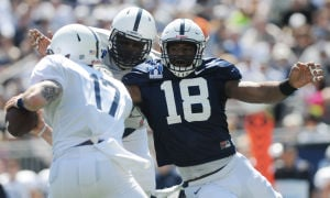 Deion Barnes closes in at Blue and White game