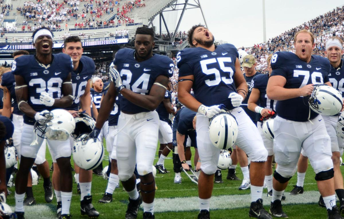 Penn State football players celebrate win over Iowa, post ...