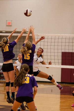 <p>Draft's Danielle Benneman (7) sends the ball past Waynesboro defenders Alyssa Balsley (10) and Becca Spencer (15) in Thursday's 3-0 win over WHS. </p>