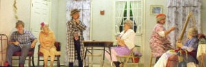 "<p><span>Cast members of ""The Great Nursing Home Escape,"" rehearse a scene Thursday evening at the Crimora Community Center.</span></p>"