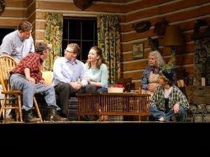"<p>Pictured from left to right, Jim Young as ""Charlie"", John Van Patten as ""Owen"", Brenton Painter as ""David"", Mandi Sours Arehart as ""Catherine"", Linda Witt as ""Betty"", and Wendi Shorkey as ""Ellard"".  Charlie is teaching everyone his ""foreign"" language.</p>"