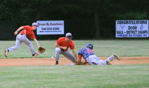 <p>Waynesboro's Kyle Pitt slides safely into second</p>