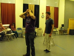"<p><span>Jeff Ryman and Jonathan Martin <span>practice a scene from ""Next to Normal,"" on April 7 at nTelos Theatre in Staunton.</span></span></p>"