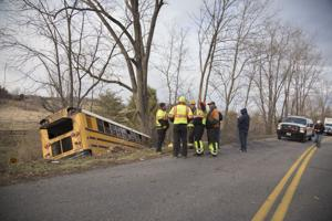 <p>An Augusta County school bus ran off Long Meadow Road in Fishersville</p>