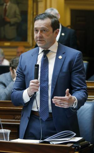 <p>Del. Todd E. Pillion, R-Washington, speaks for HB1348, his bill which would prohibit smoking in motorvehicles that are occupied by children younger than 8, during the floor session of the House of Delegates at th State Capitol in Richmond, VA Wednesday, Feb. 10, 2016. The bill was passed to thrid reading by the body.</p>