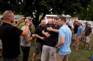 <p>Lots of smiles, hand shakes and hugs each time as a Marine would arrive at the reunion.</p>