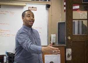 <p>Leonard Richards teaches his government class Tuesday at Waynesboro High School.</p>