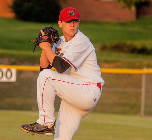 <p>Stuarts Draft pitcher Ryan Windon starts his windup during Wednesday's home playoff game against Broadway.</p>