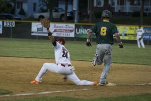 <p>First baseman, Ryan Cooper, 24, gets a Clover Hill player out during the game on Friday evening in Stuarts Draft.</p>