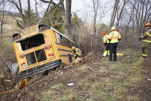 <p>An Augusta County school bus ran off Long Meadow Road in Fishersville Wednesday.</p>