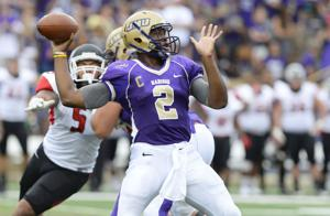 <p>Dukes' quarterback Vad Lee drops back to pass during JMU's win Saturday afternoon</p>