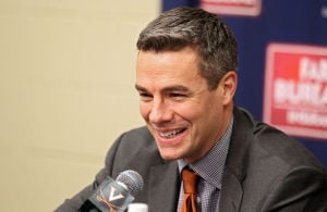 <p>Virginia head coach Tony Bennett smiles during the press conference after the end of an NCAA basketball game against Syracuse in Charlottesville. Photo / Ryan M. Kelly / The Daily Progress</p>