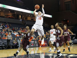 <p>Virginia guard Tiffany Suarez (13) goes up for a layup during the second half of an NCAA college basketball game against Maryland Eastern Shore on Tuesday in Charlottesville, Va. Photo / Ryan M. Kelly / The Daily Progress</p>