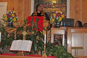 "<p>The Rev. Kathryn D. Urby delivers her ""A Reason to Shout' sermon during Sunday's Black History Monday program at Ebenezer Baptist Church in Lignum.</p>"