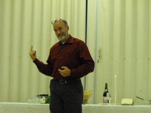 <p><span>Pastor John Wyble, of the Living Word Deaf Church and Wayne Hills Deaf Fellowship, preaches during a Seder held Saturday evening.</span></p>