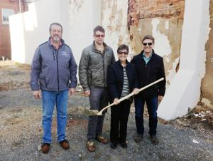 <p>Culpeper Renaissance and the Wood family recently held a ground-breaking for a proposed park on the vacant lot at 118 N. Main St., next to Deli-icious. From left are CRI Board President Steve Miller, and propert owners, Caleb Wood, Rosia Wood and Aaron Wood. contributed</p>