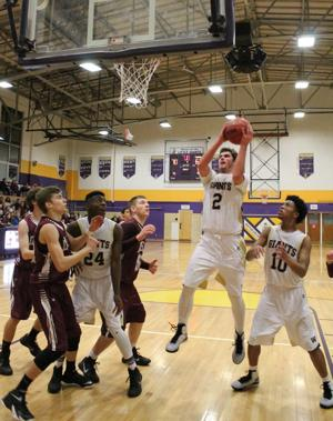 <p>Waynesboro's Burke Bender goes up for a basket Thursday night in the Little Giants' game against Stuarts Draft. WHS won 100-90. Photo Sara Eldredge/For The News Virginian</p>