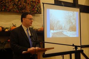 <p>Blue Ridge Community College President John Downey updates Waynesboro on the community college Wednesday morning.</p>