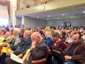 Crowd listening at bypass hearing