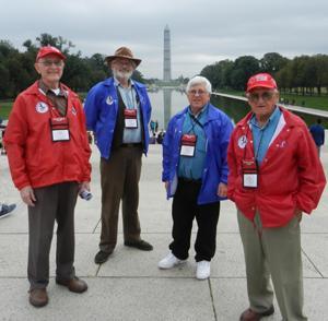 Veterans at monument