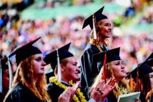 Graduates enjoy their big day at Kibbie Dome