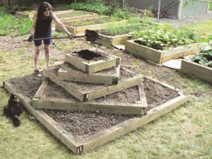 Five-tiered garden bed is the height of style in her yard