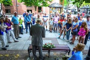 Rotary Club honors David Trail with bench