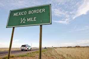 A U.S. Border Patrol vehicle approaches the Mexican border.